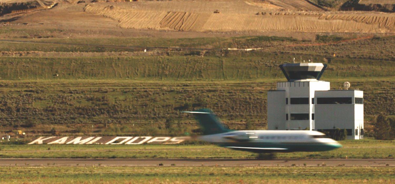 Airplane taking off in Kamloops