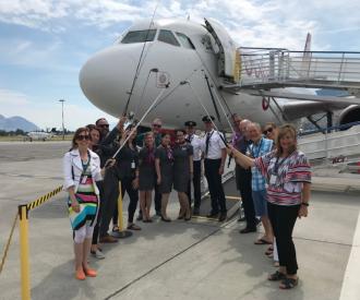 Airplane crew in Kamloops Airport